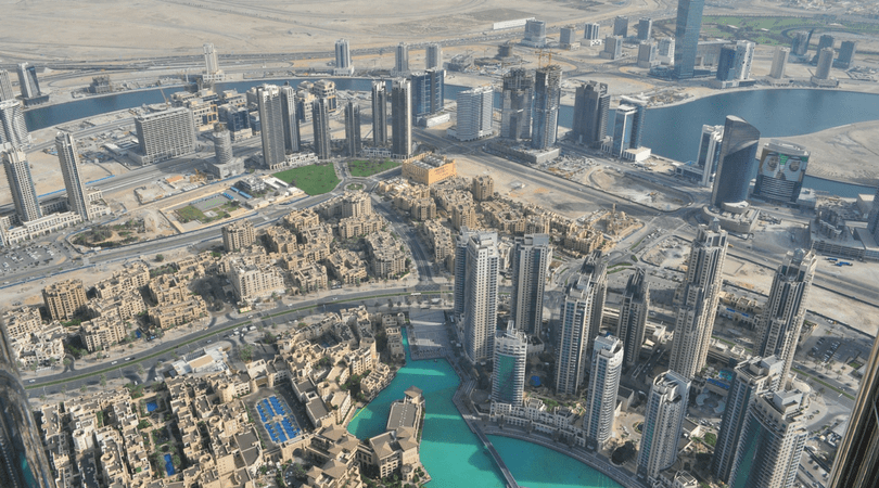 An aerial view of the city of Dubai