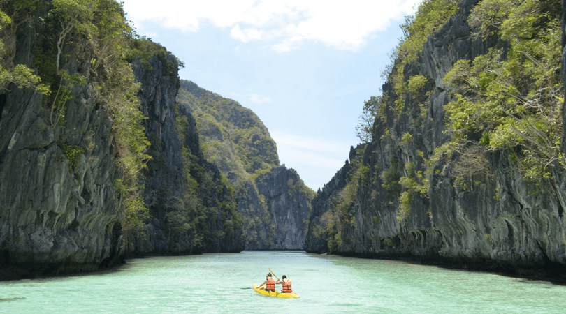 two people kayaking in Palawan