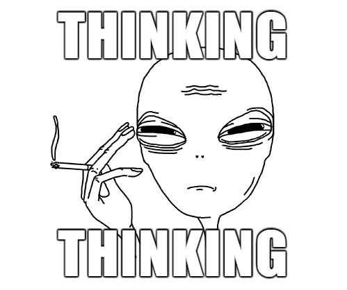 thinking alien meme