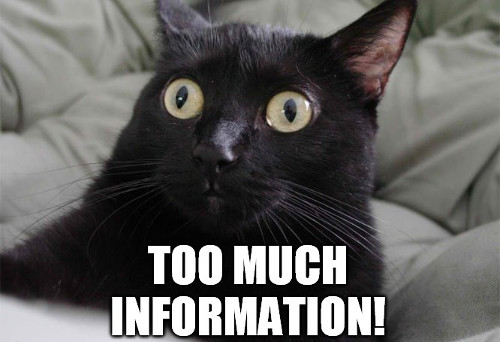 a cat meme about sharing too much information