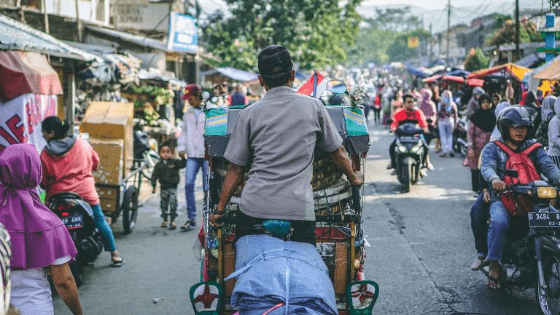an indonesian man in cart