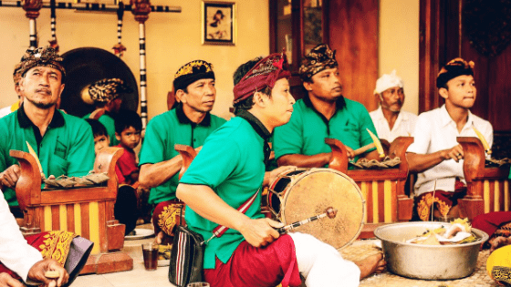 Indonesian men playing instruments