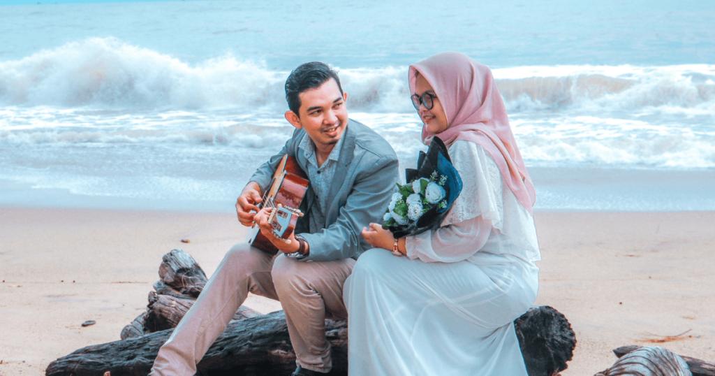 malaysian couple in beach